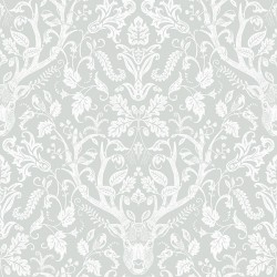 3118-12702 Kiwassa Grey Antler Damask Wallpaper