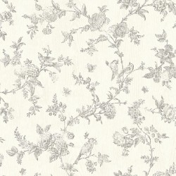 3119-02193 French Nightingale Taupe Floral Scroll Wallpaper