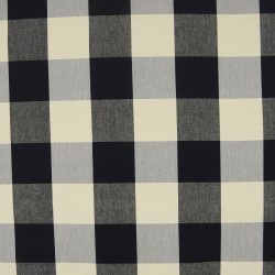 3163 9 Large 4 inch  Black Cream Buffalo Check Fabric