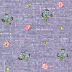 Gerda Blue Hand Embroidered Raffia Look Wallpaper