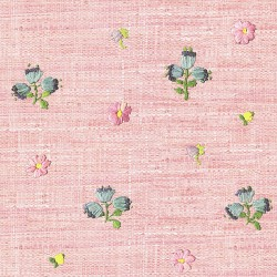 Gerda Pink Hand Embroidered Raffia Look Wallpaper