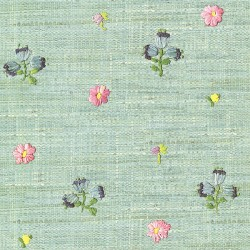 Gerda Mint Hand Embroidered Raffia Look Wallpaper