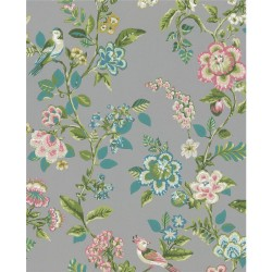 375065 Willem Taupe Painted Garden Wallpaper