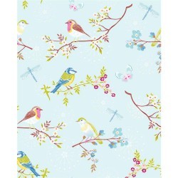 375081 Marit Light Blue Bird Wallpaper