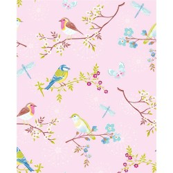 375082 Marit Light Pink Bird Wallpaper