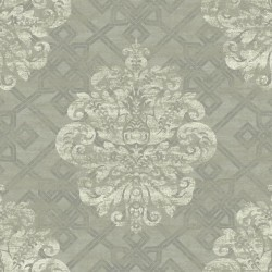 AD1277 Grey Cream Large Geometric Damask Wallpaper
