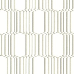Vina White Square Ogee Wallpaper