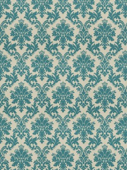 Dramatic Oat Damask Teal Fabric
