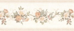 Lory Peach Floral Wallpaper Border