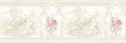 Kris Taupe Aviary Cameo Fleur Wallpaper Border