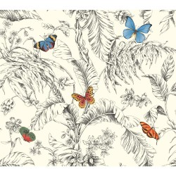 AF2025 Black Red Blue Papillion Butterfly Toile Wallpaper