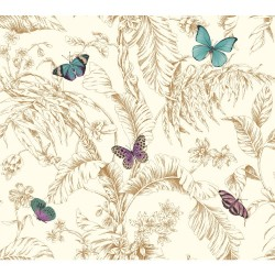 AF2028 Metallic Rose Gold Aqua Purple Papillion Butterfly Toile Wallpaper