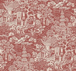 AF6576 Red, Orange Chinoiserie Wallpaper