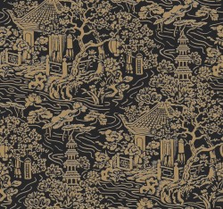 AF6577 Black, Gold Chinoiserie Wallpaper