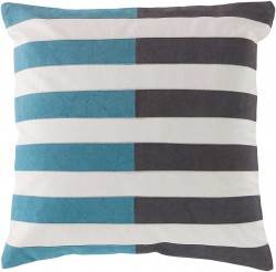 Spellbound by Stripes Grey, Blue, Tan Pillow | AR134-1818P