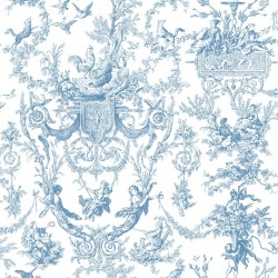 Blue Book Old World Toile Wallpaper