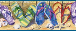 Gabby Sand Beach Sandals Portrait Wallpaper Border