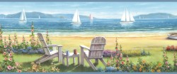 Regatta Blue Seaside Cottage Portrait Wallpaper Border