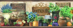 Marche Green Antique Herbs Portrait Wallpaper Border