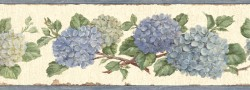Esther Blue Hydrangea Trail Wallpaper Border