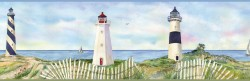 Eugene Light Blue Coastal Lighthouse Portrait Wallpaper Border