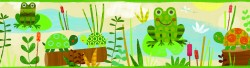 Kermis Cream Frog Marsh Toss Wallpaper Border