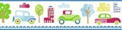Gatsby Blue City Scape Trail Wallpaper Border