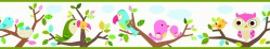 Island Beat Green Forest Friends Scroll Wallpaper Border