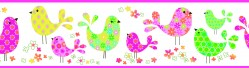 Partridge Pink Calico Birdies Toss Wallpaper Border