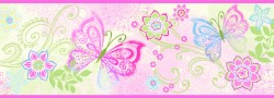 Fantasia Pink Boho Butterflies Scroll Wallpaper Border