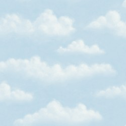 Fluff Blue Faux Puffy Clouds Wallpaper