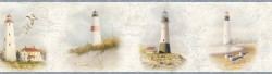 Arya White Lighthouse Coast Wallpaper Border