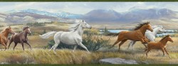 Sally Blue Wild Horses Portrait Wallpaper Border