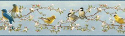 Daphne Blue Songbird Trail Wallpaper Border