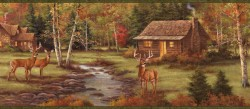 Lodge Green Stag Creek Portrait Wallpaper Border