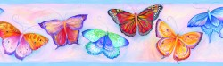 Samantha Blue Butterfly Breeze Trail Wallpaper Border