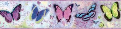 Kingston Purple BFF Butterflies Toss Wallpaper Border