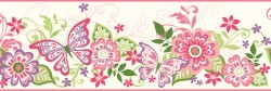 Kendra Pink Butterflies Blooms Trail Wallpaper Border