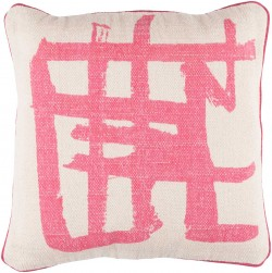 Bristle Pillow with Poly Fill in Light Gray with Hot Pink