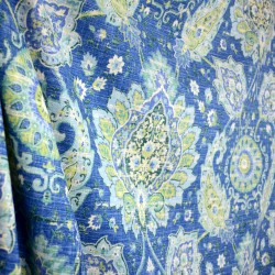 Cadogan Oasis Paisley Damask on Blue Linen Fabric