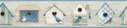 Cottage Chic Birdhouses Blue Border Wallpaper Border