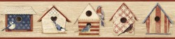 Cottage Chic Birdhouses Dark Red Border Wallpaper Border