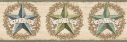 Faith Barn Star Teal Border Wallpaper Border