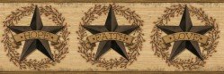 Faith Barn Star Brown Border Wallpaper Border