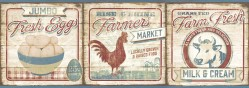 Farmers Market Dark Red Border Wallpaper Border