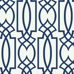 CM2383 Navy Blue on White Large Lattice Wallpaper