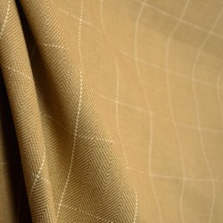 D2954 Copley Square Caramel Light Brown Beige Herringbone Weave Cream Check Fabric
