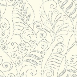 CP1266 Modern Fern Silver White Wallpaper
