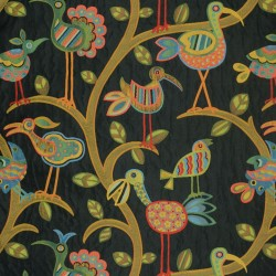 Crazy Ol Bird Midnight Black Contemporary Fabric