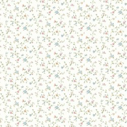 Shelby Blush Calico Floral Wallpaper